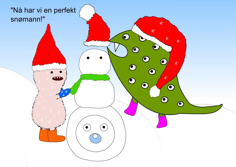Nå har vi en perfekt snømann!